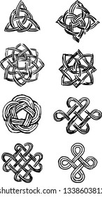 Set of celtic knots. Tribal symbol in celtic style. Vector illustration.