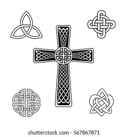 Set of Celtic knots. Celtic Trinity, cross, heart knots, isolated silhouette on a white background for web design.  Vector illustration.