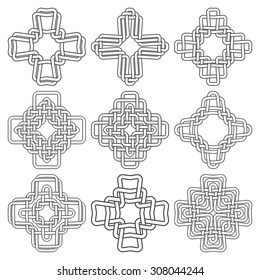 Set of celtic knotting crosses. Nine cruciform decorative elements with stripes braiding for your design.