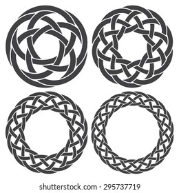 Set of celtic knotting rings. 4 circular decorative elements with stripes braiding for your design.