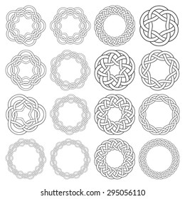 Set of celtic knotting rings. Sixteen circular decorative elements with stripes braiding for your design.
