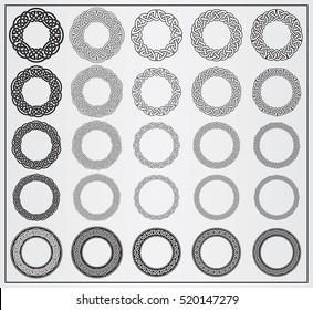 Set of celtic knotwork round frames. 25 Vector Round Frames. Design elements for logos, web, illustrations or game interface. Vector Viking Ornament Frames. Vector Celtic Ornament Frames.