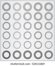 Set of celtic knotwork round frames. 30 Vector Round Frames. Design elements for web, logos, illustrations or game interface. Vector Viking Ornament Frames. Vector Celtic Ornament Frames. Outlined.