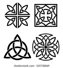 Set of Celtic national ornament. Black ornament isolated on white background.
