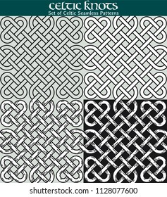 Set of Celtic Seamless Patterns. 4 different versions of a seamless pattern with Celtic knots: with white filling, without filling, with shadows and with a black background.