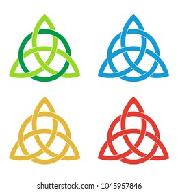 Set of celtic triquetra knots. Green, blue, golden, red celtic trinity knot. Logo template design element. Vector illustration