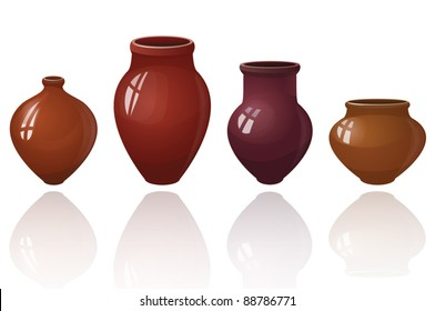 set of ceramic pots, vector, isolated