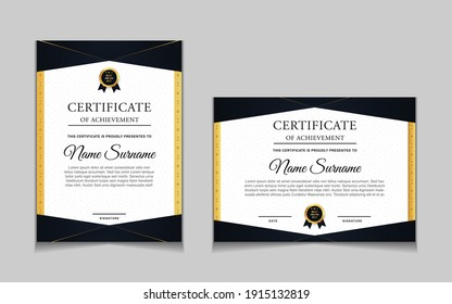 Set of certificate of achievement border design templates with elements of  luxury gold badges and modern line patterns. vector graphic print layout can use For award, appreciation, education