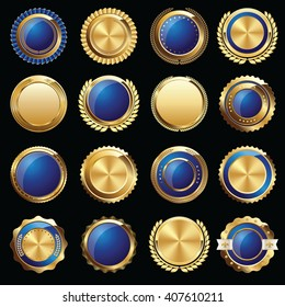 Set of Certificate Gold and Blue Seals and Badges