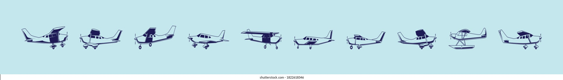set of cessna plane cartoon icon design template with various models. vector illustration isolated on blue background