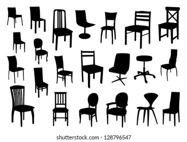 Set of chair silhouettes