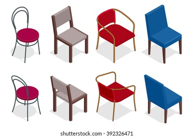 Set of Chairs. Flat 3d isometric illustration. For infographics and design