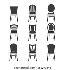 Set of chairs on a white background. Vector