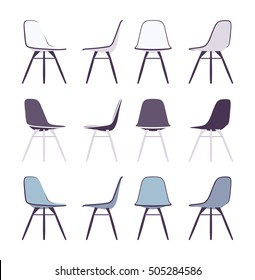 Set of chairs shown from different positions, different not bright colours. Cartoon vector flat-style illustration