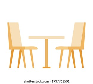 Set of chairs and table for restaurants and cafes. Simple interior objects for eating. Vector