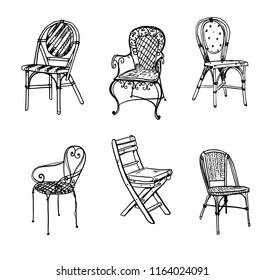 Set of chairs. Vector sketch. Bstro chairs drawing