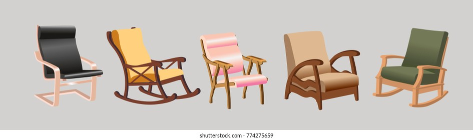 The set of chairs with wooden armrests, The rocking chair, armchairs vector, beautiful chairs