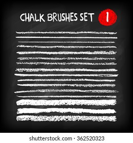 Set of chalk brushes. Grunge lines with chalk texture. Hand drawn design elements on chalkboard background. Vector illustration.