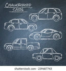 Set of chalk car sketches on blackboard