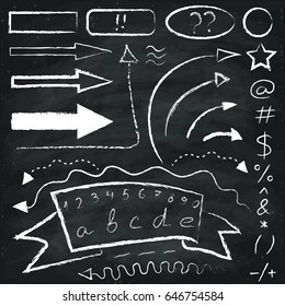 Set of chalk drawn  arrows and symbols on the chalkboard background.