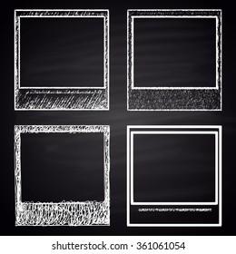 Set of chalk drawn retro photo frames. Vintage collection.