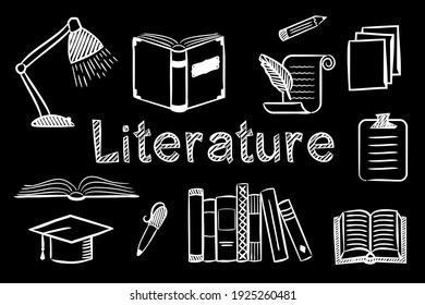 Set of chalk  hand-drawn icons on the theme of Literature and Reading. Pictograms of open book, hat, table lamp, paper on blackboard. Vector illustration for school and education projects.