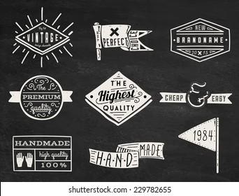 Set of chalk hipster vintage retro labels and logo on chalkboard background