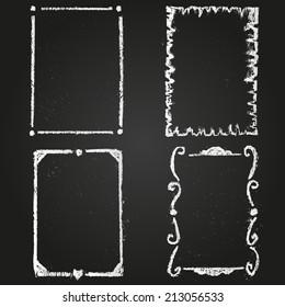 Set of chalk painted frames on a black chalkboard