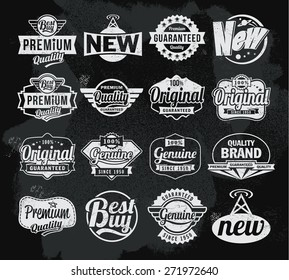 Set of chalkboard banners labels and badges. Blackboard vector background design. Retro vintage style. Removable texture.