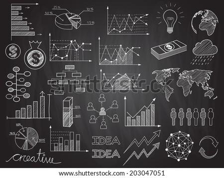 set chalkboard info graphics business doodles stock vector royalty