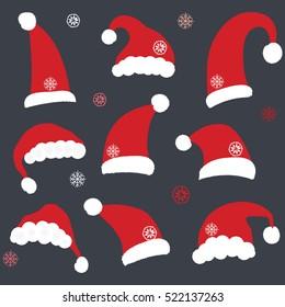 Set of Chalkboard Santa Hats