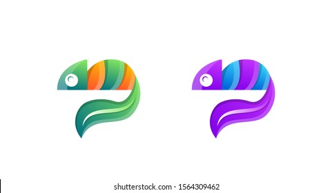 set of Chameleon leaf logo design. Lizard animal, Exotic animal, Chameleon logo template. Creative chameleon logo icon design. gradient orange - green and purple - blue colors in design.