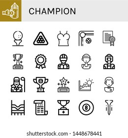 Set of champion icons such as Punching bag, Golf ball, Billiard, Top, Prize, Trophy, Medal, Racer, Basketball player, Taekwondo, Golfer, Achievement, Soccer player , champion