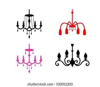 Set of chandelier icons in silhouette style