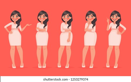 Set of character a beautiful woman in various poses. Pretty girl for your fashion project. Vector illustration in cartoon style