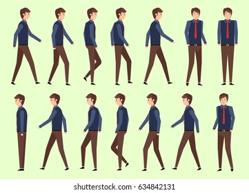 set character businessman for animator design of walking flat, vector, illustration style. front view, haft front view, Side view.