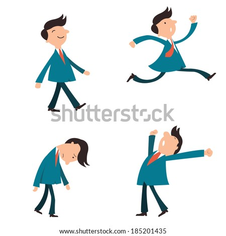 Set of character businessman, suit man, or office workers pose in various emotion, yawning, happy, walking, running in a hurry, and in sad feeling.
