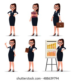 Set character businesswoman, secretary or teacher. Smiling business woman in various poses on a white background. Vector illustration