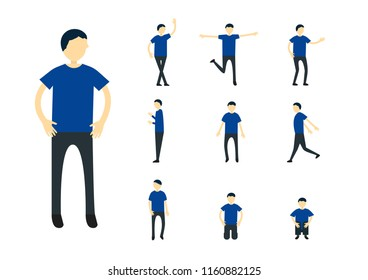 Set of character design of person with blue shirt isolated on white background.