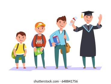 Set character different ages elementary school boy,secondary schoolboy, students of college, university and graduate . The stages of growing up man student