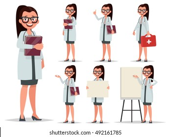 Set character female doctor in various poses. Element for medical information poster.