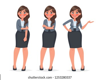 Set of character a female office employee. Beautiful woman in business clothes. Secretary in different poses. Vector illustration in cartoon style