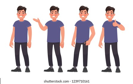 Set of character a handsome Asian man in casual wear in different poses. Vector illustration in cartoon style