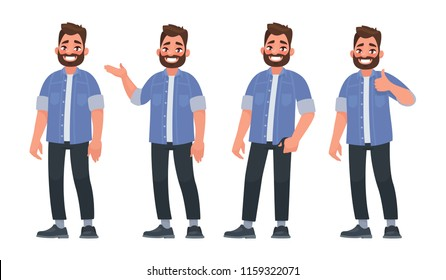 Set of character a handsome bearded man in casual clothes in different poses. Vector illustration in cartoon style