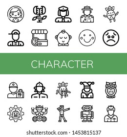 Set of character icons such as Woman, Delivery boy, Carnivorous plant, Shopper, Policewoman, Boy, Ranger, Smile, Happy, Sad, Delivery guy, Robot, Firewoman, Scare , character