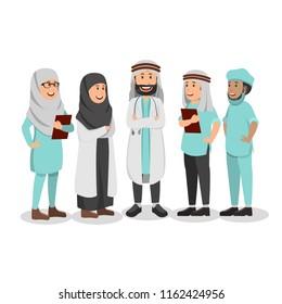 Set of Character Illustration Arabian Doctor Cartoon Vector