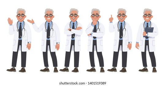 Set of character male doctor in various poses and emotions on a white background. Medical worker. Vector illustration in cartoon style
