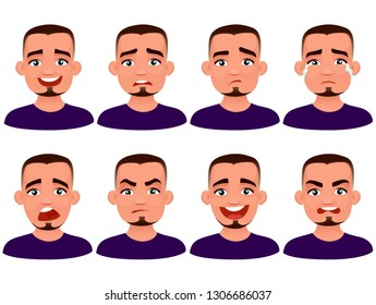 Set of character man in casual clothes with different facer expression. Vector illustration in cartoon style