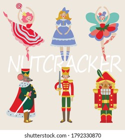 Set of characters from the ballet Nutcracker