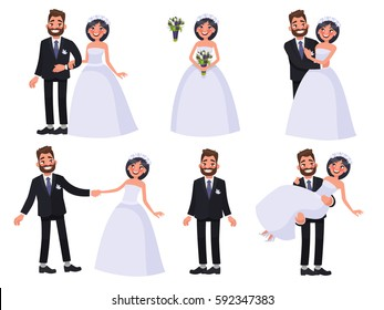 Set of characters bride and groom. Newlyweds dancing, holding hands, hugging. Element for wedding invitations. Vector illustration in cartoon style